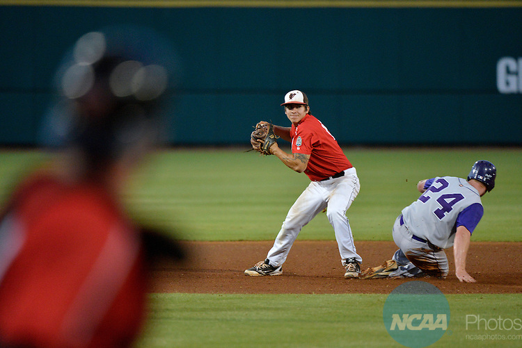 01 JUNE 2013:  Tyler Ding (12) of the University of Tampa attempts to turn a double play against Minnesota State-Mankato during the Division II Men's Baseball Championship held at the USA Baseball National Training Complex in Cary, NC.  The University of Tampa defeated Minnesota State-Mankato 8-2 to win the national title.  Grant Halverson/NCAA Photos