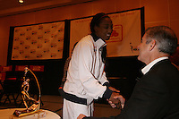 5 April 2008: Stanford Cardinal Candice Wiggins and athletic director Bob Bowlsby during Stanford's 2008 NCAA Division I Women's Basketball Final Four Kodak/WBCA All-American Team announcement and State Farm Wade Trophy presentation at the Hyatt Regency Tampa in Tampa Bay, FL.