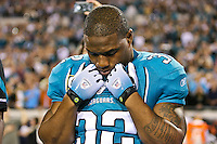 December 05, 2011:   Jacksonville Jaguars running back Maurice Jones-Drew (32) stands for the National Anthem prior to the start of the game between the Jacksonville Jaguars and the San Diego Chargers played at EverBank Field in Jacksonville, Florida.  ........