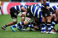 A general view of Bath Rugby players at a scrum. Aviva Premiership match, between Bath Rugby and Saracens on December 3, 2016 at the Recreation Ground in Bath, England. Photo by: Patrick Khachfe / Onside Images