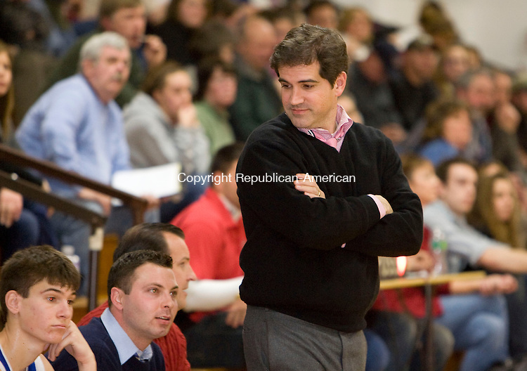 LITCHFIELD, CT - 30 DECEMBER 2009 -123009JT15--<br /> Nonnewaug head coach Tim Drakeley during Wednesday's game at Wamogo. Nonnewaug won, 71-46.<br /> Josalee Thrift Republican-American