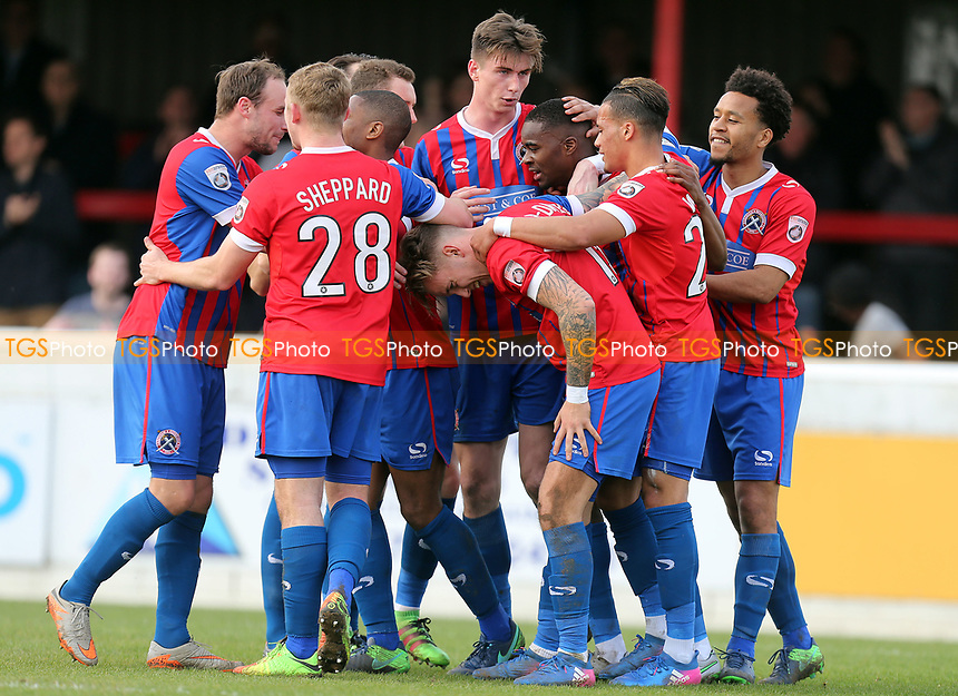 Jordan Maguire-Drew of Dagenham is congratulated after scoring the opening goal during Dagenham & Redbridge vs Forest Green Rovers, Vanarama National League Football at the Chigwell Construction Stadium on 11th March 2017