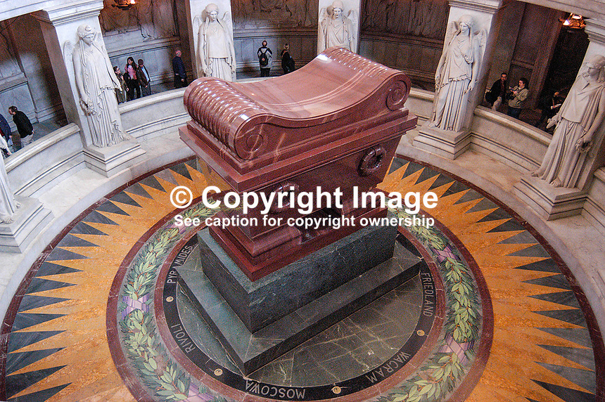 Napoleon's Tomb in L'Hotel National des Invalides, Paris, France. Ref: 200403284091...Copyright Image from Victor Patterson, 54 Dorchester Park, Belfast, UK, BT9 6RJ..Tel: +44 28 9066 1296.Mob: +44 7802 353836.Voicemail +44 20 8816 7153.Skype: victorpattersonbelfast.Email: victorpatterson@mac.com.Email: victorpatterson@ireland.com (back-up)..IMPORTANT: If you wish to use this image or any other of my images please go to www.victorpatterson.com and click on the Terms & Conditions. Then contact me by email or phone with the reference number(s) of the image(s) concerned.