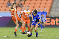 Houston, TX - Wednesday June 28, 2017: Janine Beckie and Angela Salem battle for control of the ball during a regular season National Women's Soccer League (NWSL) match between the Houston Dash and the Boston Breakers at BBVA Compass Stadium.