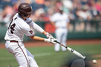 Mississippi State Bulldogs third baseman Marshall Gilbert (34) swings the bat during Game 8 of the NCAA College World Series against the Vanderbilt Commodores on June 19, 2019 at TD Ameritrade Park in Omaha, Nebraska. Vanderbilt defeated Mississippi State 6-3. (Andrew Woolley/Four Seam Images)