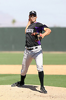 Ubaldo Jimenez of the Colorado Rockies pitches in an extended spring training game as part of his recovery from an injury against the Oakland Athleticss at the Athletics minor league complex on April 13, 2011  in Phoenix, Arizona. .Photo by:  Bill Mitchell/Four Seam Images.
