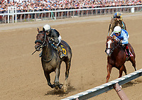 Take Me to Hardoon (no. 6) wins the Race 6, Sep. 2, 2018 at the Saratoga Race Course, Saratoga Springs, NY.  Ridden by David Cohen, and trained by Jeremiah Englehart, Take Me to Hardoon finished a length  in front of Sassy Agnes (No. 8).   (Bruce Dudek/Eclipse Sportswire)