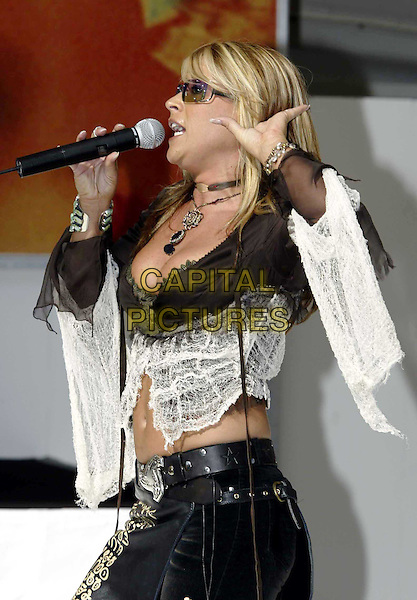 ANASTACIA..Concert at Darling Harbour, Sydney, Australia..half length, half-length, black leather, sunglasses, shades, singing, music, performing, white lace, belly, stomach, cleavage..www.capitalpictures.com..sales@capitalpictures.com..©Capital Pictures..