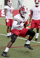 NWA Democrat-Gazette/DAVID GOTTSCHALK   Arkansas Razorback outside linebacker Randy Ramsey runs through  drills Friday, July 28, 2017, during practice on campus in Fayetteville.