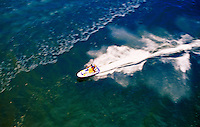 Aerial view of a jet skier.