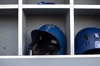 Tulsa Drillers gear sits in the dugout on May 13, 2019, at Arvest Ballpark in Springdale, Arkansas. (Jason Ivester/Four Seam Images)