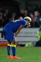 An exhausted Lyle Taylor of AFC Wimbledon during the Sky Bet League 1 match between AFC Wimbledon and Charlton Athletic at the Cherry Red Records Stadium, Kingston, England on 10 April 2018. Photo by Carlton Myrie / PRiME Media Images.