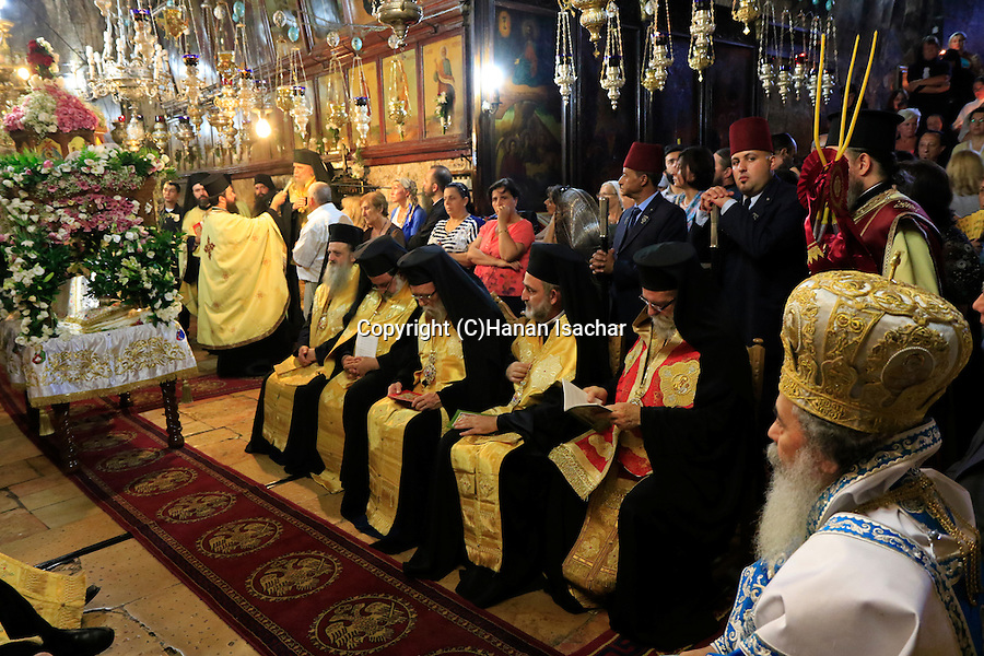 Israel, Jerusalem, the Greek Orthodox Patriarch of Jerusalem Theophilus III presides over the Feast of the Assumption ceremony at Mary's Tomb