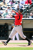 May 13, 2009:  Outfielder Garrett Jones of the Indianapolis Indians, International League Class-AAA affiliate of the Pittsburgh Pirates, at bat during a game at Frontier Field in Rochester, FL.  Photo by:  Mike Janes/Four Seam Images