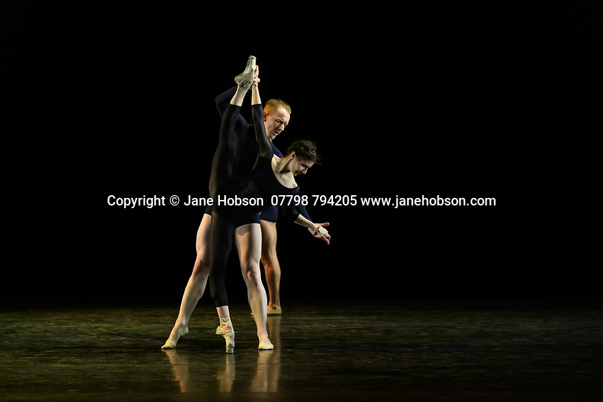 """London, UK. 19.02.2020. Alina Cojocaru, lead principal dancer with Sadler's Wells Associate Company, English National Ballet, and resident guest artist with Hamburg Ballet, curates and performs in a new programme of classical and contemporary works, at Sadler's Wells. The piece shown is """"Journey"""", choreographed by Juliano Nunes. the dancers are: Alina Cojocaru, Juliano Nunes (bare-chested), Dominic Harrison. Photograph © Jane Hobson."""