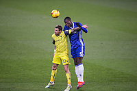 Kurt Zouma of Chelsea goes up against Chris Maguire of Oxford United during the The Checkatrade Trophy match between Chelsea U23 and Oxford United at Stamford Bridge, London, England on 8 November 2016. Photo by Andy Rowland.