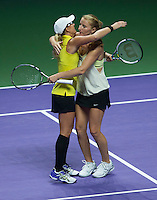 ALLA KUDRYAVTSEVA (RUS), ANASTASIA RODIONOVA (AUS)<br /> <br /> The BNP Paribas WTA Finals 2014 - The Sports Hub - Singapore - WTA  2014  <br /> <br /> 22 October 2014<br /> <br /> &copy; AMN IMAGES