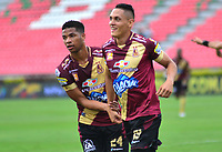 IBAGUÉ- COLOMBIA,20-04-2019:Diego Valdes (Der.) jugador del Deportes Tolima celebra después de anotar un gol a Alianza Petrolera  durante partido por la fecha 17 de la Liga Águila I 2019 jugado en el estadio Manuel Murillo Toro de la ciudad de Ibagué. /Diego Valdes (R) player of Deportes Tolima celebrates after scoring a goal agaist of Alianza Petrolera  during the match for the date 17 of the Liga Aguila I 2019 played at the Manuel Murillo Toro stadium in Ibague city. Photo: VizzorImage / Juan Carlos Escobar / Contribuidor