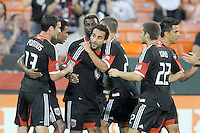 D.C. United forward Dwayne De Rosario (7) celebrates his score with teammates. D.C. United defeated The Chicago Fire 4-2 at RFK Stadium, Wednesday August 22, 2012.