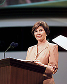 Texas First Lady Laura Bush practices for her speech at the Republican National Convention in Philadelphia, Pennsylvania July 31, 2000.  Her husband, Governor George W. Bush (Republican of Texas) is the Republican Party's nominee to run against Democrat Al Gore in the 2000 election.<br /> Credit: Ron Sachs / CNP