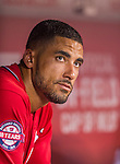 22 August 2015: Washington Nationals shortstop Ian Desmond watches play from the dugout during a game against the Milwaukee Brewers at Nationals Park in Washington, DC. The Nationals defeated the Brewers 6-1 in the second game of their 3-game weekend series. Mandatory Credit: Ed Wolfstein Photo *** RAW (NEF) Image File Available ***