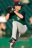 Charlotte starting pitcher Lance Broadway (21) in action versus Louisville at Louisville Slugger Field in Louisville, KY, Wednesday, June 6, 2007.