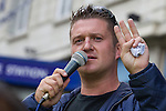 © Joel Goodman - 07973 332324 . 07/09/2013 . London , UK . Stephen Yaxley-Lennon (aka Tommy Robinson ) the EDL leader , speaks outside Aldgate Station in East London . The EDL hold a march and demonstration in London today (Saturday 7th September 2013) . Photo credit : Joel Goodman
