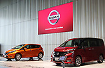 May 11, 2017, Yokohama, Japan - Japanese automobile giant Nissan Motor's compact vehicle Note e-power (L) and minivan Serena (R) are displayed at the company's showroom in Yokohama, suburban Tokyo on Thursday, May 11, 2017. Nissan said its operating profit was 742 billion yen, down 6.4 percent from previous year.   (Photo by Yoshio Tsunoda/AFLO) LwX -ytd-