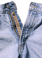 "Product Photo of ""Lucky You"" jeans Label in Zipper Fly"