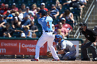 Matt Williams (4) of the Lehigh Valley Iron Pigs at bat against the Durham Bulls at Coca-Cola Park on July 30, 2017 in Allentown, Pennsylvania.  The Bulls defeated the IronPigs 8-2.  (Brian Westerholt/Four Seam Images)