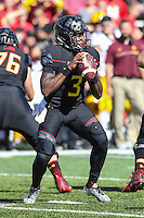 College Park, MD - October 15, 2016: Maryland Terrapins quarterback Tyrrell Pigrome (3) attempts a pass during game between Minnesota and Maryland at  Capital One Field at Maryland Stadium in College Park, MD.  (Photo by Elliott Brown/Media Images International)