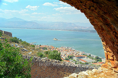 Arch on Palamidi fortress castle citadel and Aegean sea in Nafplion on the Peloponnese Greece Europe