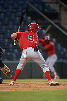 Spencer Brown (9), of the AZL Angels, at bat during an Arizona League game against the AZL Padres 1 on August 5, 2019 at Tempe Diablo Stadium in Tempe, Arizona. AZL Padres 1 defeated the AZL Angels 5-0. (Zachary Lucy/Four Seam Images)