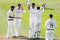 PICTURE BY ALEX WHITEHEAD/SWPIX.COM - Cricket - County Championship Div Two - Yorkshire v Glamorgan, Day 3 - Headingley, Leeds, England - 06/09/12 - Yorkshire players celebrate the wicket of Glamorgan's William Bragg (bowled by Moin Ashraf).