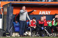 Mark Yates of Crawley Town (left) during the Sky Bet League 2 match between Luton Town and Crawley Town at Kenilworth Road, Luton, England on 12 March 2016. Photo by David Horn/PRiME Media Images.