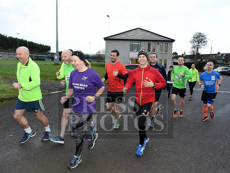 Don Thornton leaves Drogheda Town's ground at Marian Park on Day 183 of 365, the halfway point along his journey of running 10k a day for 365 days. Photo:Colin Bell/pressphotos.ie