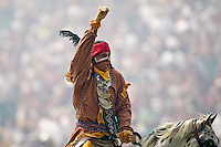 September 04, 2010:   Florida State Seminoles mascot leads the crowd in cheers prior to the start of first half action between the Florida State Seminoles and the Samford Bulldogs at Doak Campbell Stadium in Tallahassee, Florida.  Florida State defeated Samford 59-6.