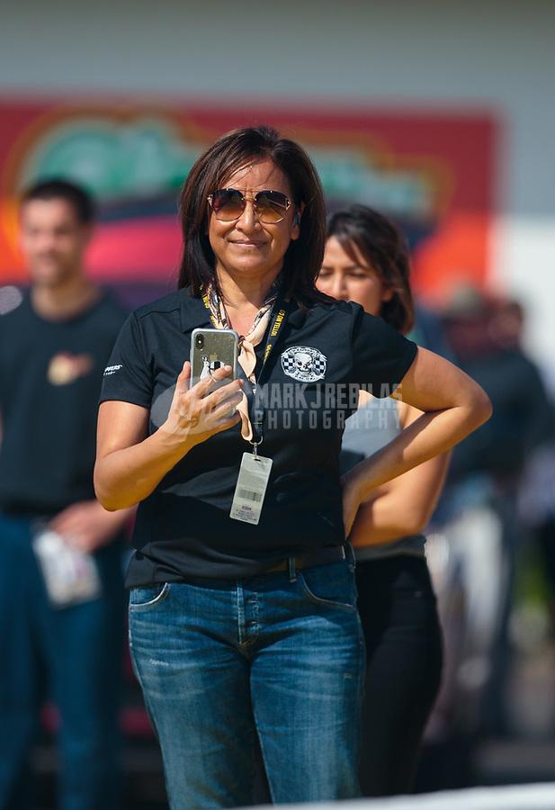 Mar 15, 2019; Gainesville, FL, USA; NHRA Monica Salinas during qualifying for the Gatornationals at Gainesville Raceway. Mandatory Credit: Mark J. Rebilas-USA TODAY Sports