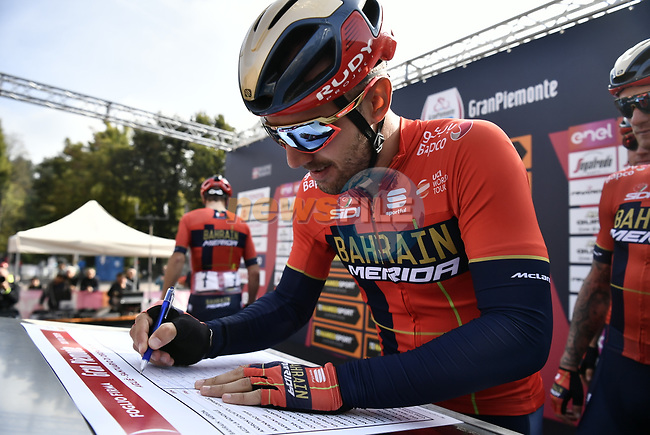 Sonny Colbrelli (ITA) Bahrain-Merida at sign on before the 103rd edition of GranPiemonte 2019 running 183km from Aglie to Santuario di Oropa (Biella), Italy. 10th Octobre 2019. <br /> Picture: Marco Alpozzi/LaPresse | Cyclefile<br /> <br /> All photos usage must carry mandatory copyright credit (© Cyclefile | LaPresse/Marco Alpozzi)