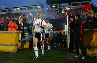 PICTURE BY VAUGHN RIDLEY/SWPIX.COM - Rugby League - Super League - Bradford Bulls v Leeds Rhinos - Odsal, Bradford, England - 06/04/12 - Bradford's Matt Diskin leads his team out of the tunnel at Odsal, possibly for the last time.]
