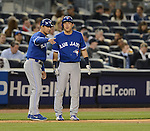 (R-L) Munenori Kawasaki, Luis Rivera (Blue Jays),.APRIL 26, 2013 - MLB :.Munenori Kawasaki of the Toronto Blue Jays receives instructions from third base coach Luis Rivera during the baseball game against the New York Yankees at Yankee Stadium in The Bronx, New York, United States. (Photo by AFLO)