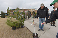 NWA Democrat-Gazette/FLIP PUTTHOFF <br /> TREES FOR THE ASKING<br /> Jim Neisen of Bentonville (left) looks over the selection of free trees Saturday April 14 2018 during the City of Bentonville tree giveaway at the Bentonville Community Center on Southwest I Street. The event distributed 400 trees of several varieties to Bentonville residents, said David Short, with the city tree and landscaping committee. Residents could pre-register to get two free trees and choose the variety they like. Some trees were available on a first-come, first-served basis. The event was the 15th year in a row for the tree giveaway, which is held twice each year.