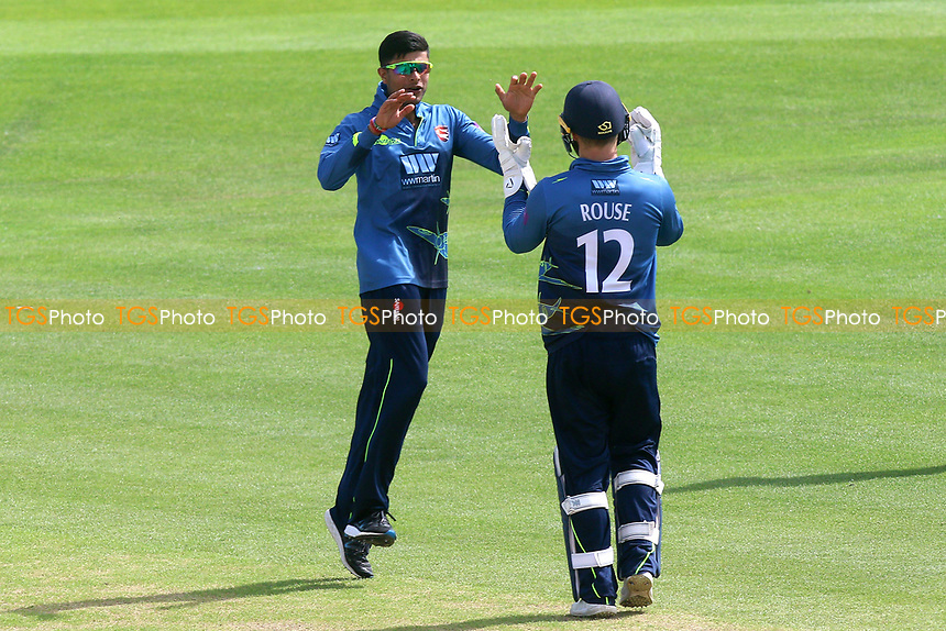 Imran Qayyum of Kent celebrates taking the wicket of Alastair Cook during Kent Spitfires vs Essex Eagles, Royal London One-Day Cup Cricket at the St Lawrence Ground on 17th May 2017