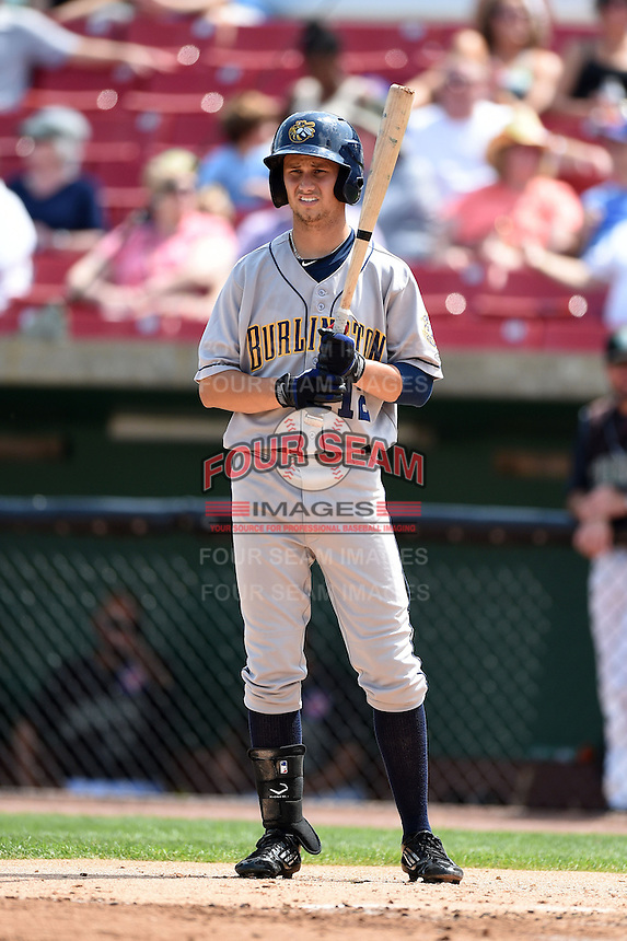 Burlington Bees outfielder Bo Way (12) at bat during a game against the Kane County Cougars on August 20, 2014 at Third Bank Ballpark in Geneva, Illinois.  Kane County defeated Burlington 7-3.  (Mike Janes/Four Seam Images)