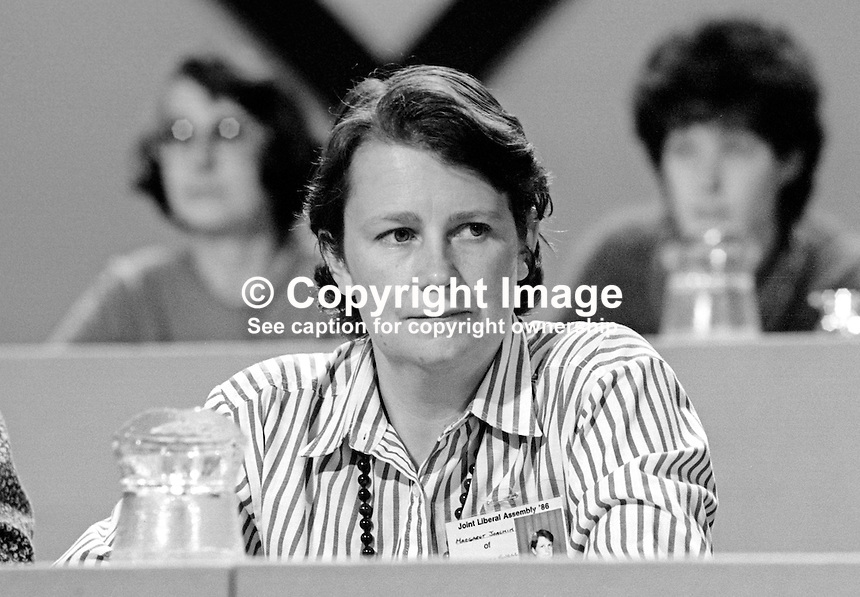 Margaret Joachim, PPC, Epsom &amp; Ewell, Liberal Party, UK, on platform at annual conference, September 1986. 19860936MJ<br />