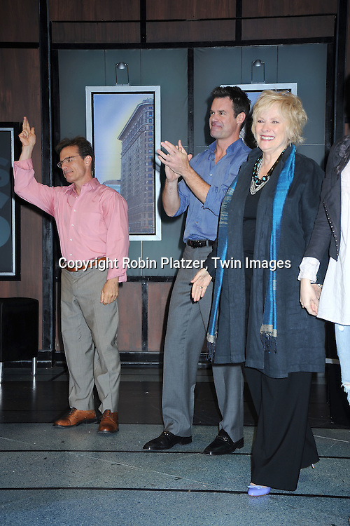 "Peter Scolari,Tuc Watkins and Betty Buckley taking a curtain call at The Opening night of ""White's Lies"" on May 6, 2010 at New World Stages in New York City. The show stars Betty Buckley, Tuc Watkins, Peter Scolari and Christy Carlson Romano."