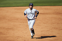 Zach Almond (23) of the Catawba Indians rounds the bases after hitting a home run against the Wingate Bulldogs at Newman Park on March 19, 2017 in Salisbury, North Carolina. The Indians defeated the Bulldogs 12-6. (Brian Westerholt/Four Seam Images)