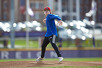 A young fan throws out a ceremonial first pitch prior to the Big South baseball game between the Campbell Camels and the High Point Panthers at Williard Stadium on March 16, 2019 in  Winston-Salem, North Carolina. The Camels defeated the Panthers 13-8. (Brian Westerholt/Four Seam Images)