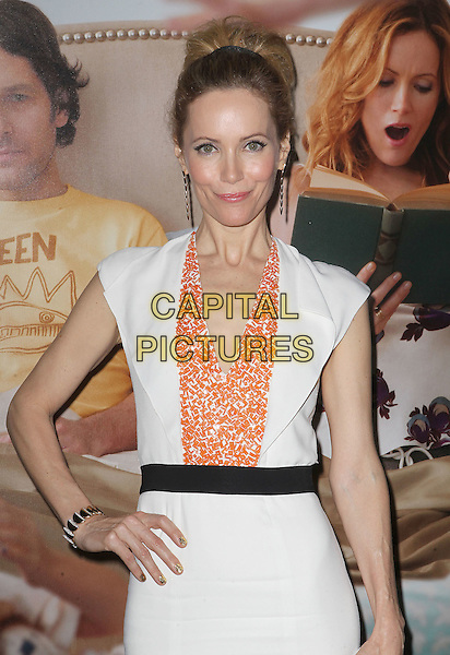 "Leslie Mann.""This Is 40"" Los Angeles Premiere held at Grauman's Chinese Theatre, Hollywood, California, USA..December 12th, 2012.half length dress black white orange pattern belt hand on hip.CAP/ADM/KB.©Kevan Brooks/AdMedia/Capital Pictures."