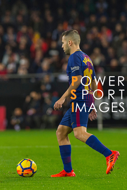 Jordi Alba Ramos of FC Barcelona runs with the ball during the La Liga 2017-18 match between Valencia CF and FC Barcelona at Estadio de Mestalla on November 26 2017 in Valencia, Spain. Photo by Maria Jose Segovia Carmona / Power Sport Images